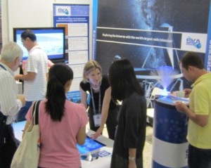The interactive touch screen SKA table proved a big hit with delegates of all nationalities and all ages!