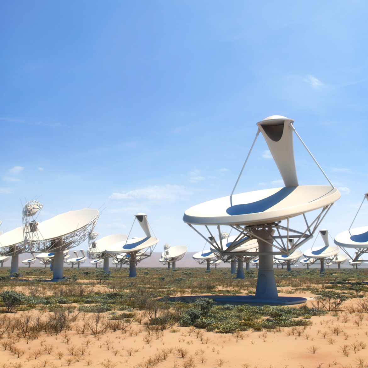 Artist's impression of the SKA1-MID dish array.