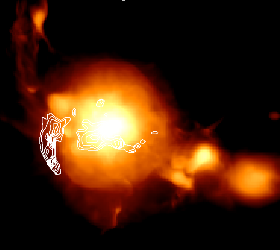 Simulation of a galaxy cluster (colours) and predicted radio emission due to shock waves (white contours). Simulation courtesy of F. Vazza.