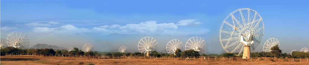 A panoramic view of the GMRT telescope near Pune, India.