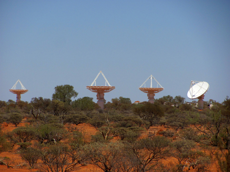 Four of CSIRO'€™s new ASKAP antennas at the Murchison Radio-astronomy Observatory, October 2010.Credit: Graham Allen, CSIRO.