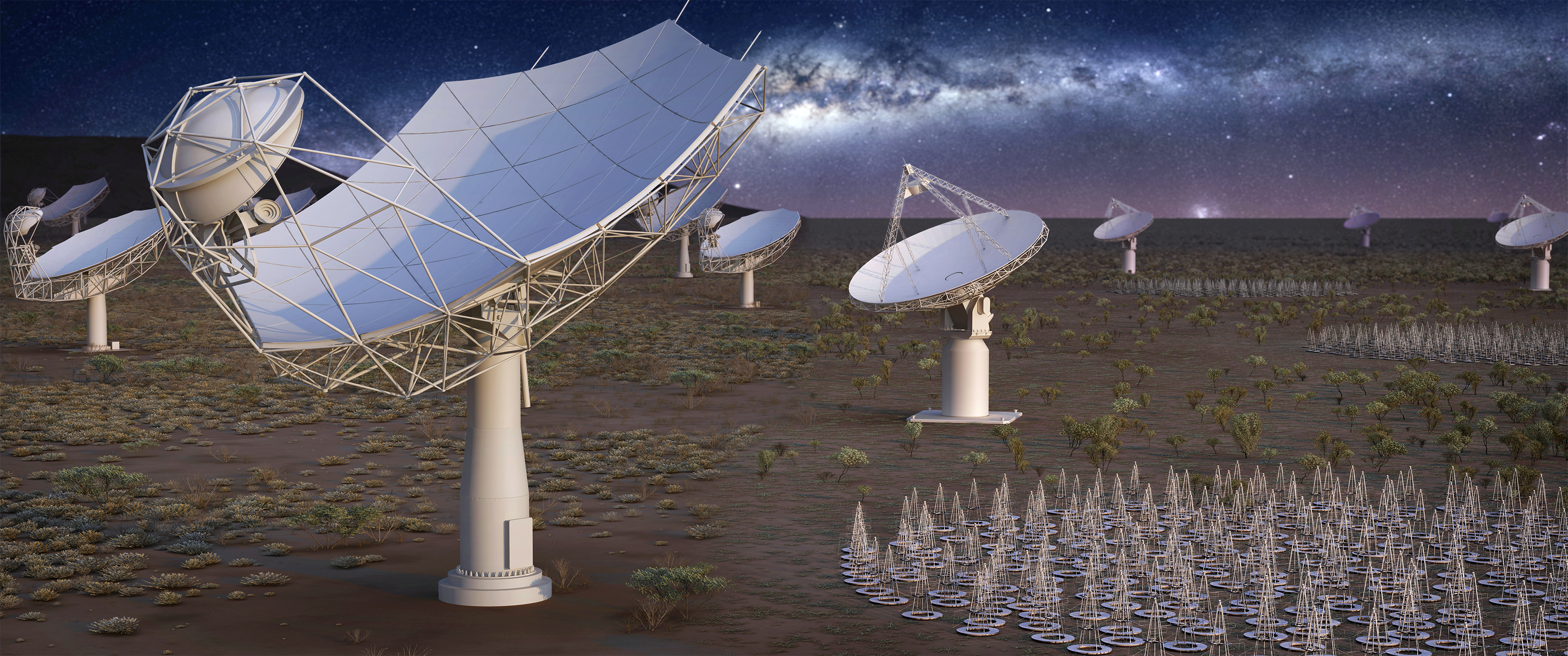 Artist's composition of the entire SKA1 array, with SKA dishes and MeerKAT dishes in Africa and low frequency