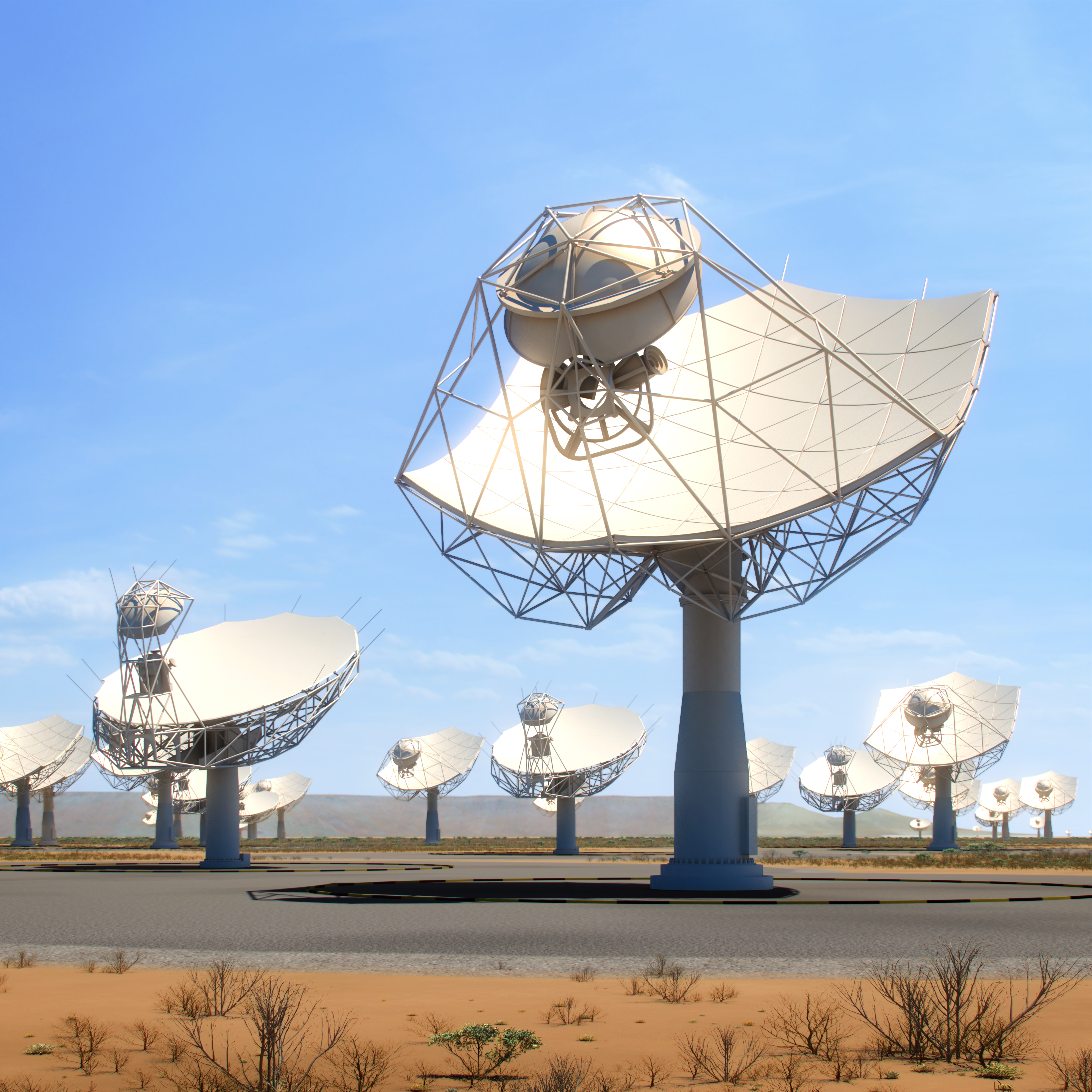 Closeup view of the SKA dishes and MeerKAT dishes in South Africa. Credit: SKA Organisation