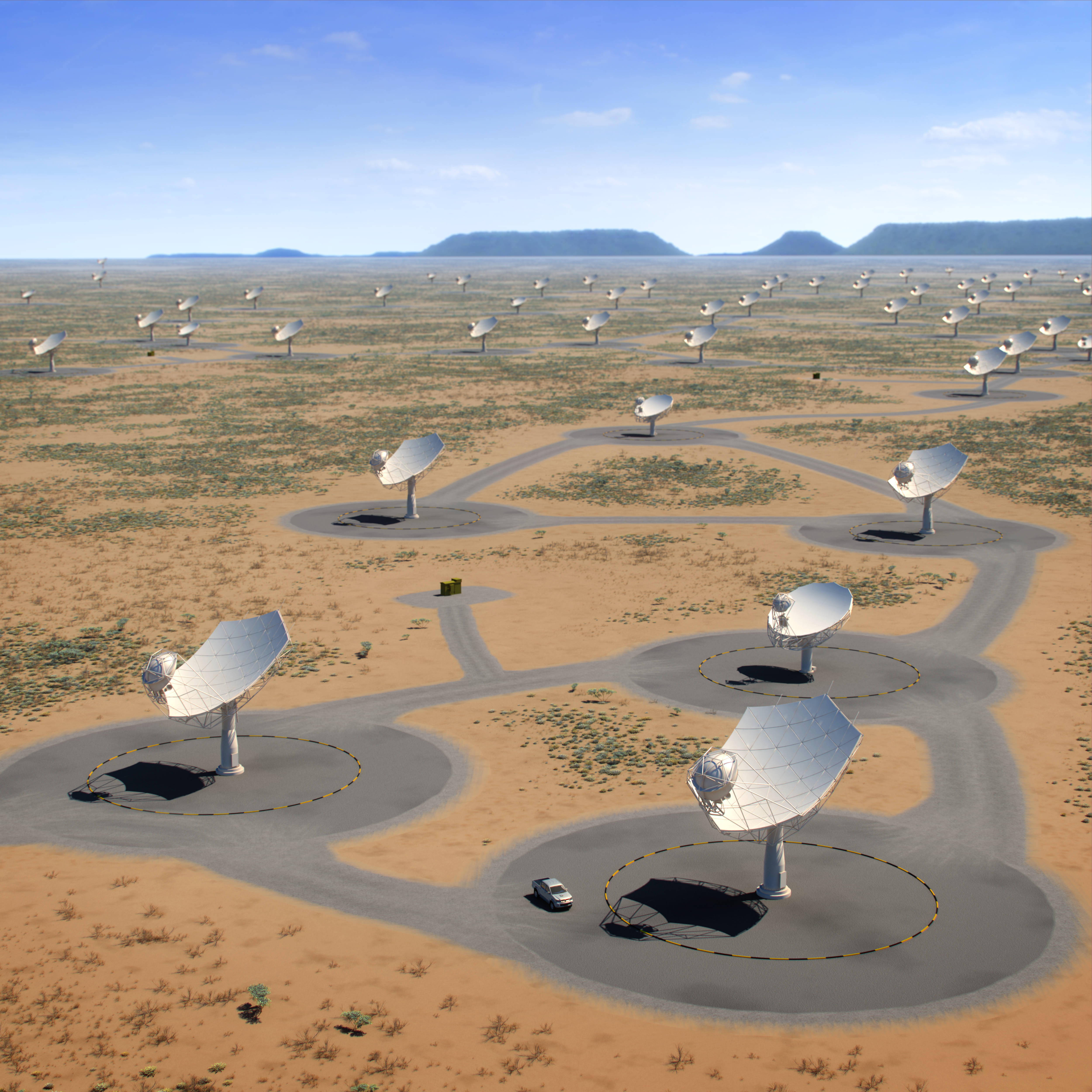 Aerial view of the SKA dishes and MeerKAT dishes in South Africa. Credit: SKA Organisation