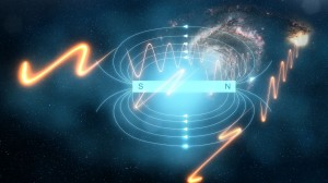 What generates the giant magnetic fields in space?