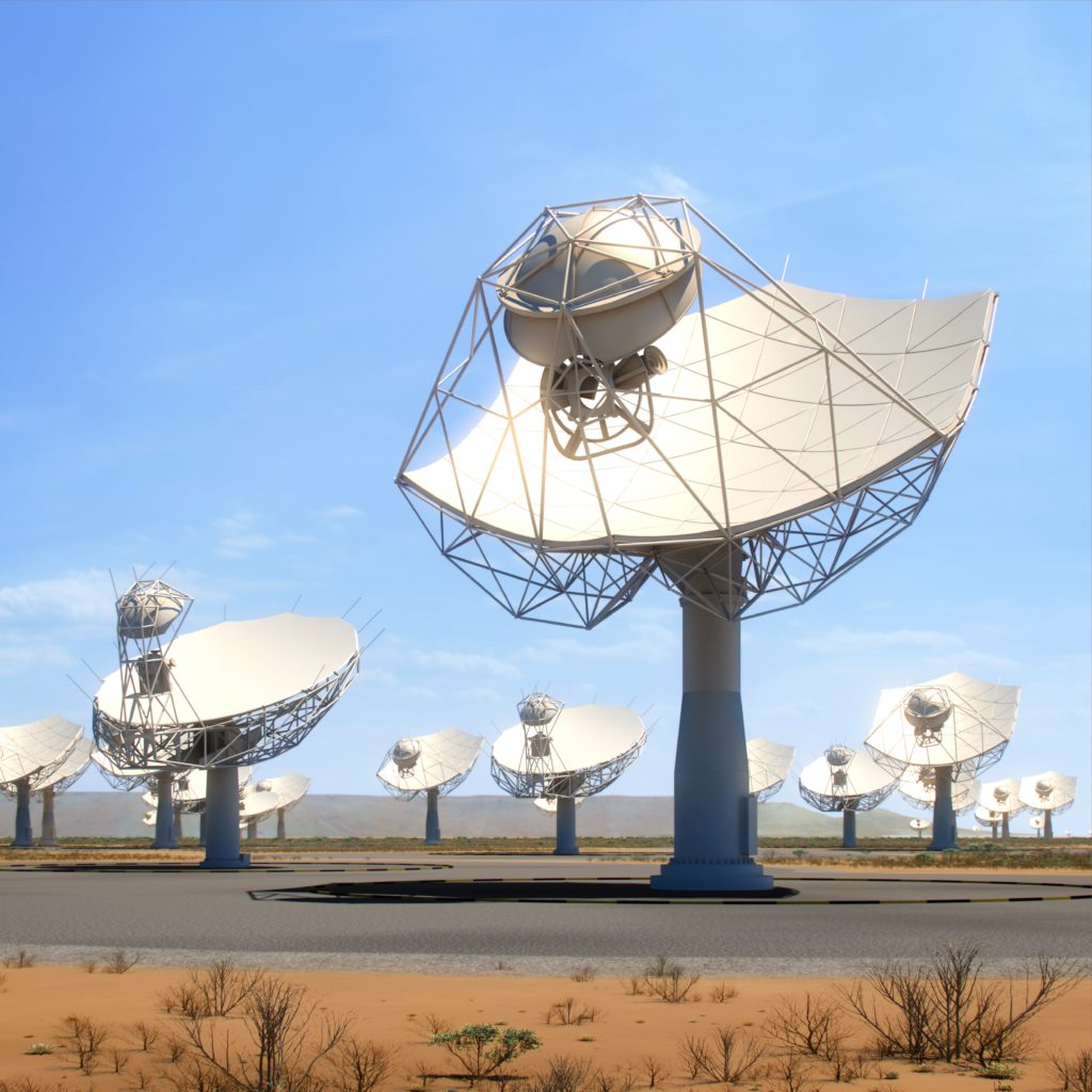 An artist's impression of the SKA dishes