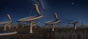 Artists rendition of the SKA Dish arrays in operation at night time. The 15m wide dishes in this rendition all pointing towards the same section of sky and source object. Using a technique known as interferometry they will be able to combine their data to create an image which would be the same as a single aperture instrument much larger.