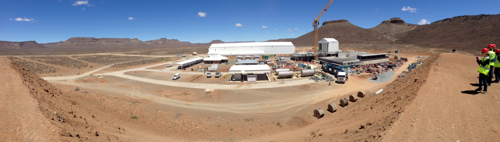Panoramic view of the construction activities at the SKA South Africa site