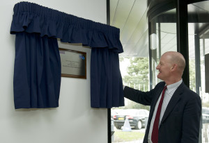 UK Minister for Universities and Science the Rt. Hon. David Willetts MP unveiling the commemorative plaque for the SKA's international headquarters opening ceremony. Credit: SKA