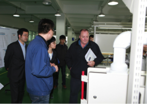 Professor Diamond, seen here at the CETC-38 facility, with Wu Jianqi, the vice president of CETC-38 Dr Chaorui, Mrs. Chen Ping,  as well as other members of the CETC38 team.
