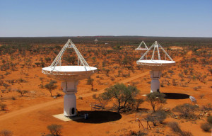 An elevated view of four of CSIRO's ASKAP antennas at the Murchison Radio-astronomy Observatory in Western Australia.