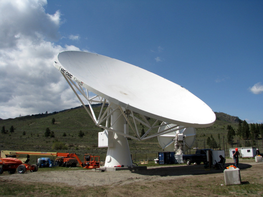 On Wednesday, May 7th, Canada's National Research Council (NRC) successfully mounted the DVA-1 Primary Dish onto the telescope pier. DVA-1 is a prototype antenna for the international Square Kilometre Array (SKA) project.