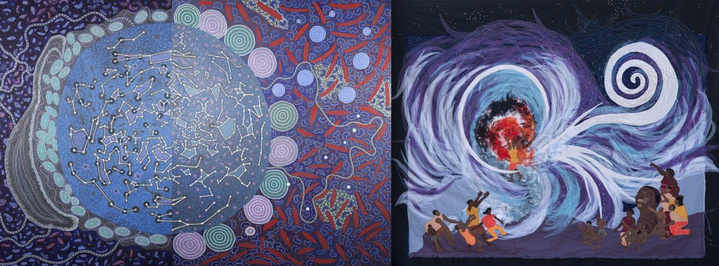 A collaborative painting from Aboriginal Yamaji Artists from Western Australia and a collaborative quilt from South African indigenous artists exposed at the Shared Sky exhibition