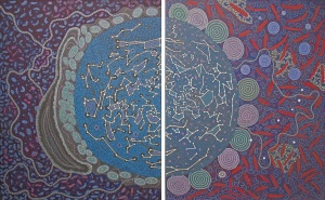 Ilgari Inyayimanha (Shared Sky) , a collaborative painting by Australian Aboriginal artists from Yamaji Art.