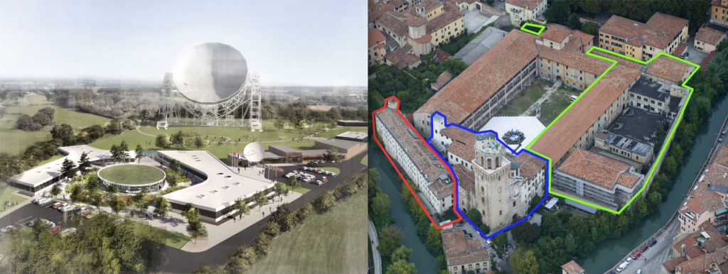 The two bids to host the SKA Observatory. On the left, the extension to the current headquarters at Jodrell Bank Observatory proposed by the UK. On the right, the Padua Castle currently housing INAF's Astronomical Observatory in Padua. Italy's proposition is to house the SKA Observatory in the south wing of the castle, highlighted in green.