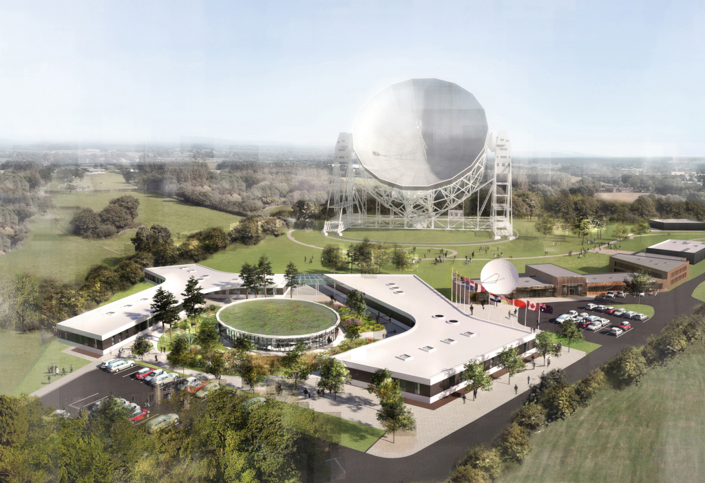 Artist's impression of the expansion to the current headquarters at Jodrell Bank proposed by the UK. Credit: The University of Manchester