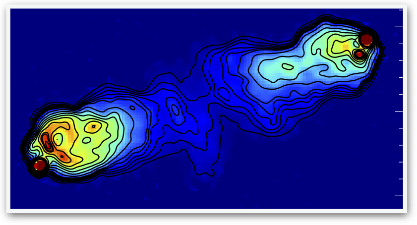 contours of radio emission from a 327.5 MHz image of Cygnus A obtained with the VLA are overlaid on the super-resolution LOFAR image at 150 MHz.
