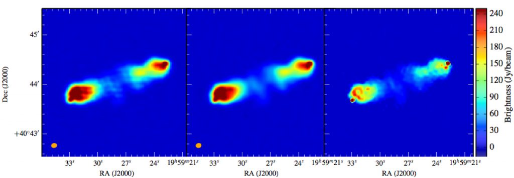 LOFAR observations at 150 MHz of the Cygnus A radio galaxy. Image obtained before deconvolution (left), and after deconvolution: with classical tools (center) and with the new algorithm developed at AIM laboratory (right).