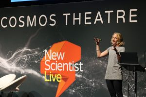 Dr Rosie Bolton giving a talk at New Scientist Live