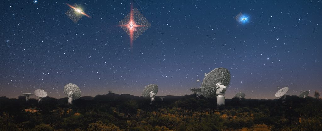 An artist's impression of fast radio bursts in the sky above the SKA precursor ASKAP.