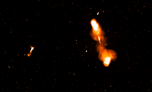 A snapshot from the SKA Science Data Challenge image, showing a large Active Galactic Nucleus (AGN) as if observed by SKA-mid at 1.4 GHz.