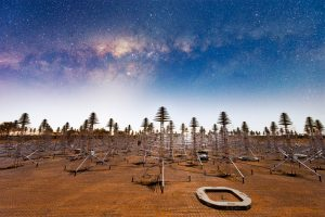 Antennas of the Aperture Array Verification System 2.0 (AAVS2.0), a demonstrator for SKA-Low at the Murchison Radio-astronomy Obervatory in Western Australia, with the Milky Way overhead