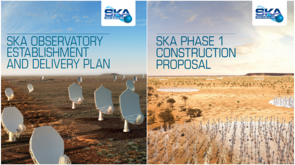 Front covers of the SKA Observatory Establishment and Delivery Plan showing an artist's impression of the SKA mid-frequency dishes, and SKA Phase 1 Construction Proposal showing an artist's impression of the SKA low frequency antennas