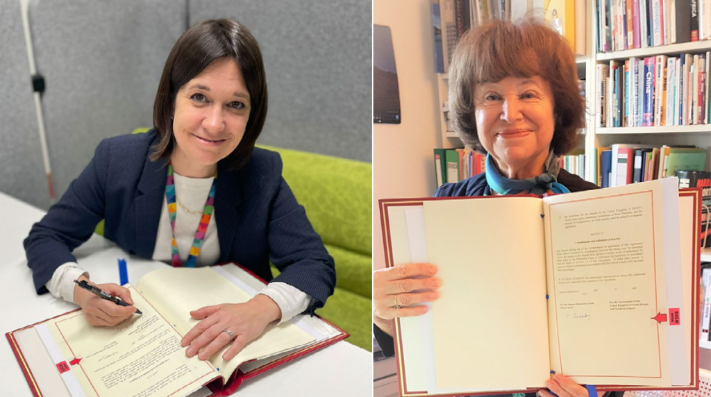 Jo Shanmugalingam (left), Director General for Industrial Strategy, Science & Innovation at the Department for Business, Energy and Industrial Strategy (BEIS), and Dr Catherine Cesarsky (right), Chair of the SKAO Council, signing the Hosting Agreement.