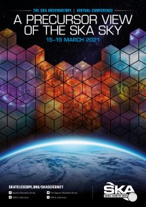 The 2021 SKA science meeting poster showing the Earth with astronomical data cubes depicted above it, with colourful science images within the cubes