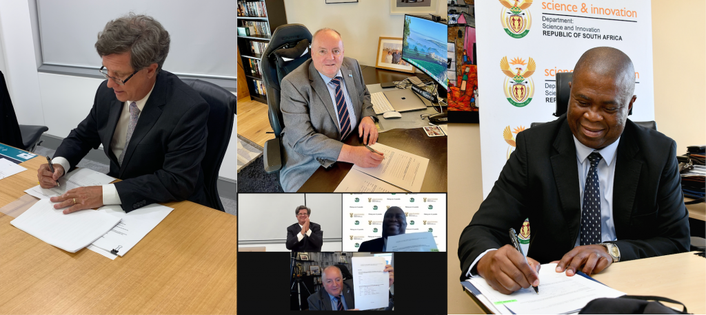 A collage showing the SKAO Director-General Prof. Philip Diamond (centre), Australia's David Fredericks, Secretary of the Department of Industry, Science Energy and Resources (left), and South Africa's Dr Phil Mjwara, Director General of the Department of Science and Innovation (right) signing the Host Country Agreements during the fourth SKAO Council Meeting.