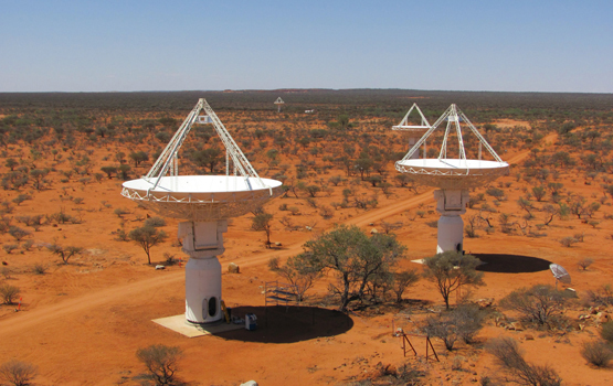 An elevated view of four of CSIRO'€™s new ASKAP antennas at the Murchison Radio-astronomy Observatory, October 2010.Credit: Ant Schinckel, CSIRO.